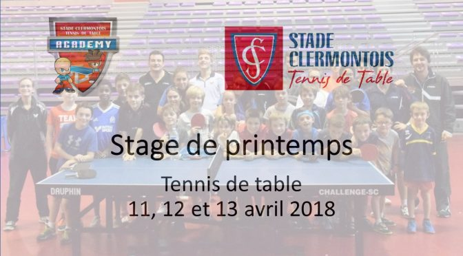 Stage de tennis de table des vacances de printemps 2018 du Stade clermontois