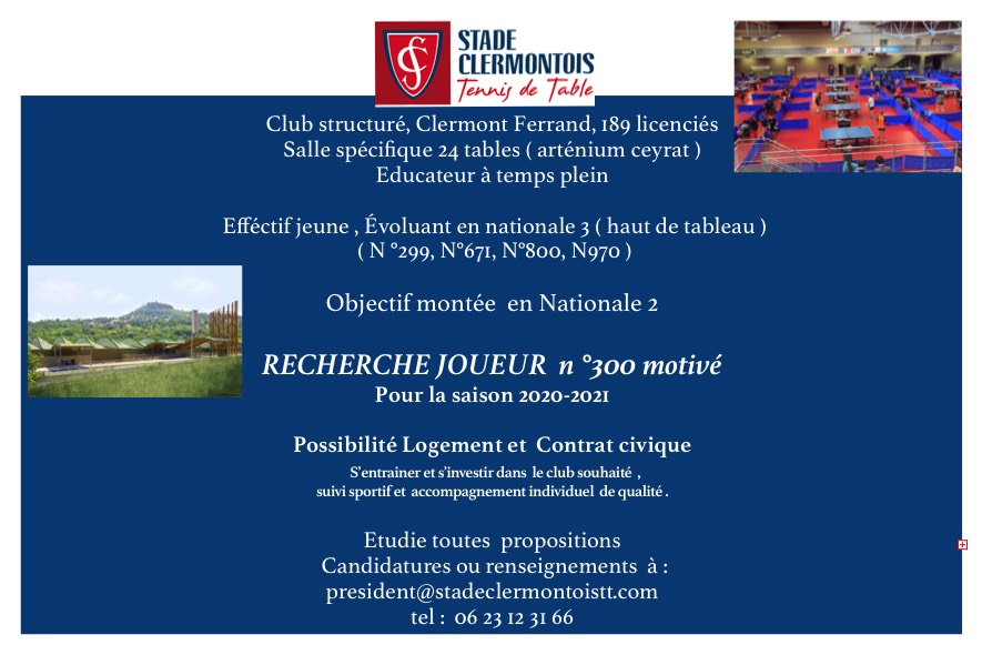 LE STADE CLERMONTOIS RECRUTE                         Objectif Nationale 2