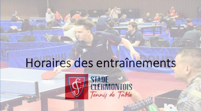 Horaires des entraînements du Stade clermontois tennis de table, saison 2019 – 2020