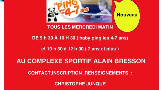 l'Ecole de tennis de table de Chamalières ouvre ses Portes.